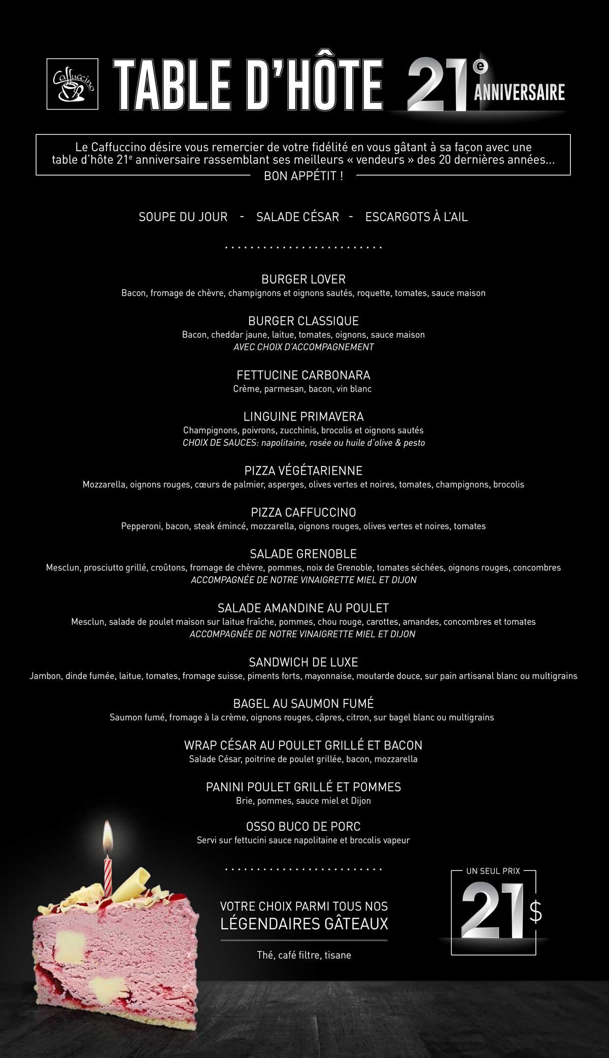 Caffuccino - Table d'hôte 21e anniversaire