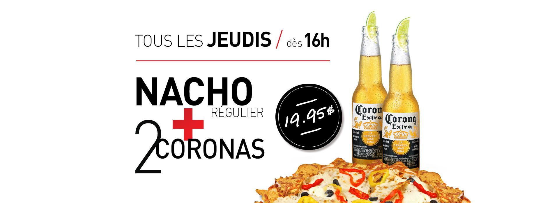 Caffuccino - Promotion - Jeudis nacho + 2 coronas