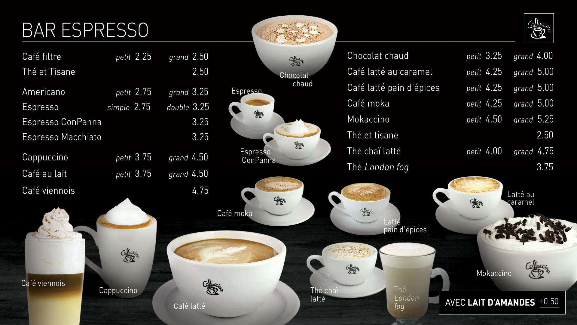 Caffuccino - Menu bistro - Cafés spécialisés