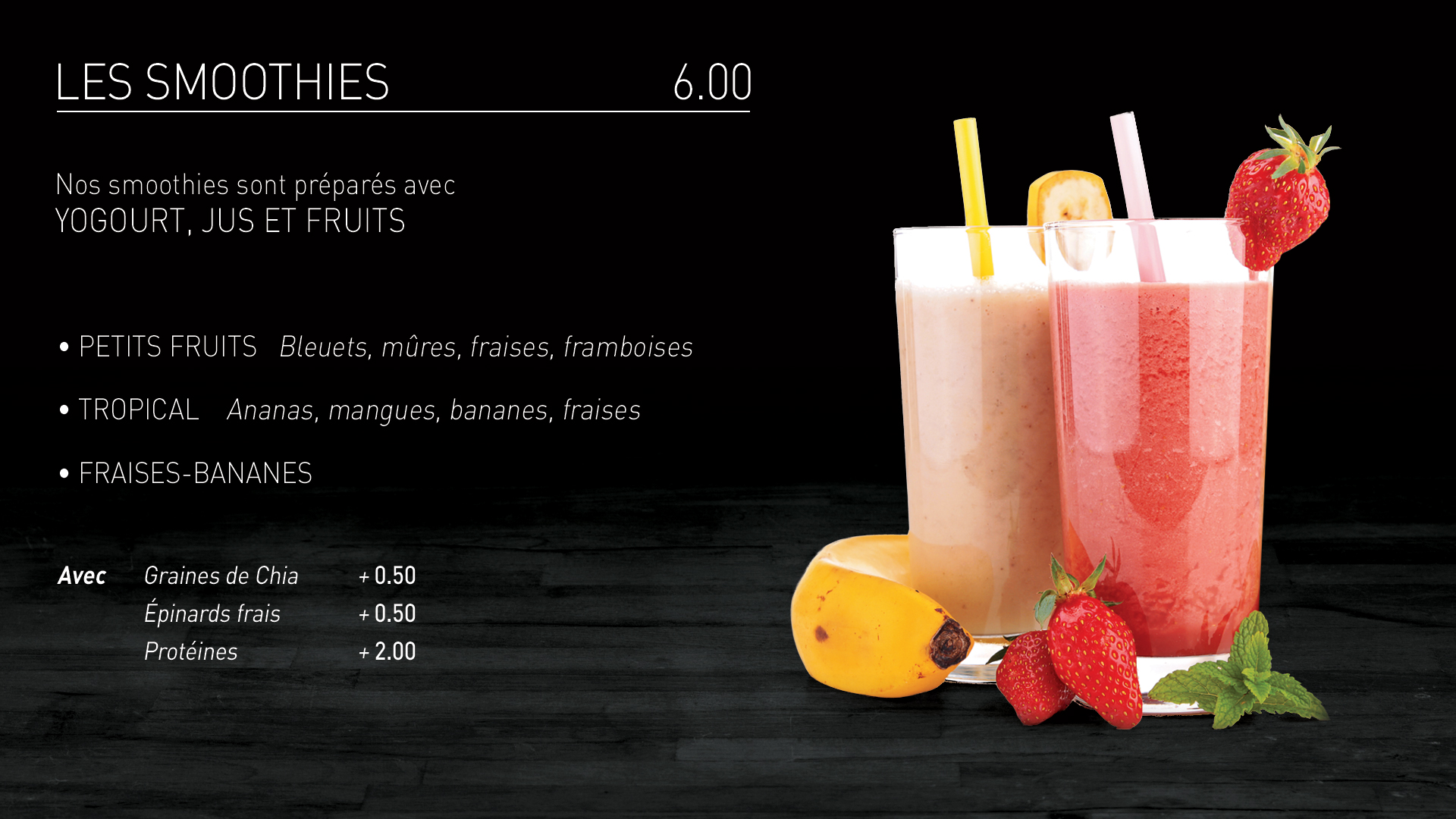 Caffuccino - Menu bistro - Smoothies